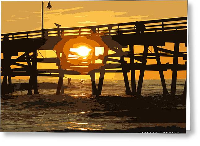 Clemente Greeting Cards - Walking on Water at Sunset Greeting Card by Carolyn Toshach