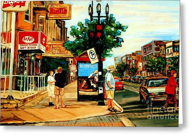 Walking Past Rialto And The Kit Kat Gift Shop Towards Pascals On Blvd. Park Avenue Montreal Scenes Greeting Card by Carole Spandau