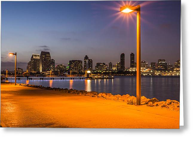 Night Lamp Photographs Greeting Cards - Walking Path to Skyline Greeting Card by Joseph S Giacalone