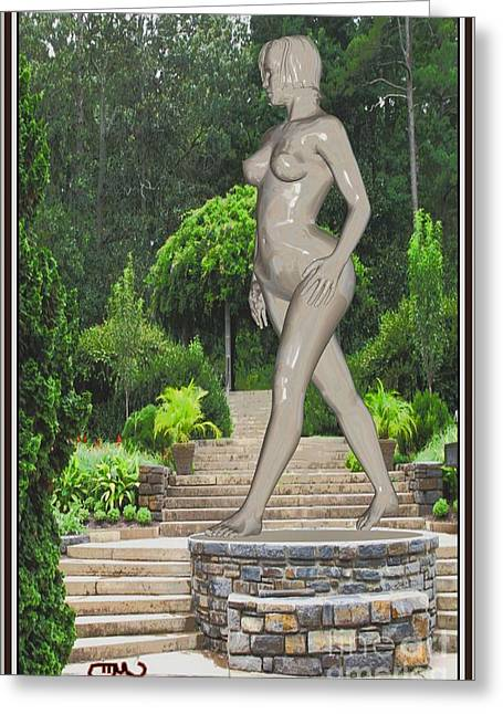 Abstract Digital Sculptures Greeting Cards - Walking statue 1WS1 Greeting Card by Pemaro