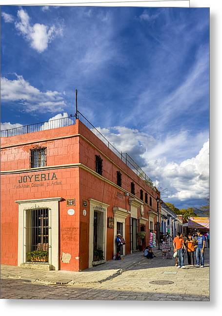 Walking The Colorful Streets Of Oaxaca Greeting Card by Mark E Tisdale