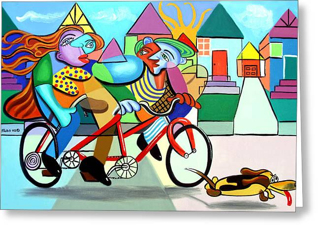 Walking The Dog Greeting Card by Anthony Falbo