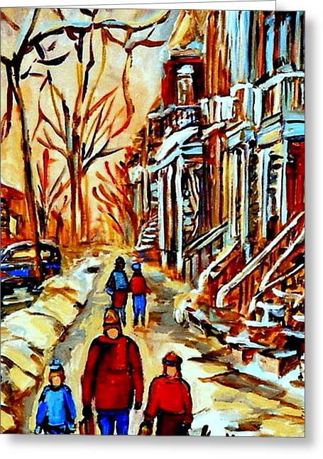 Dog In Snow Greeting Cards - Walking The Dog By Balconville Winter Street Scenes Art Of Montreal City Paintings Carole Spandau Greeting Card by Carole Spandau