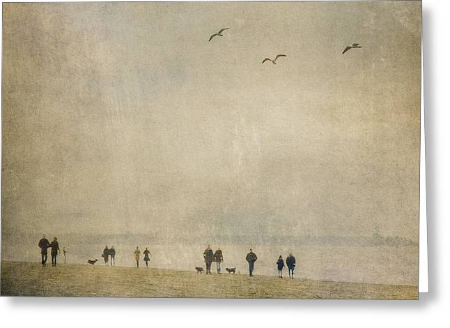 Scheveningen Greeting Cards - Walking The Dog Greeting Card by Constance Fein Harding