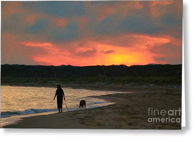 Dog Walking Digital Art Greeting Cards - Walking The Dog Greeting Card by Jeff Breiman