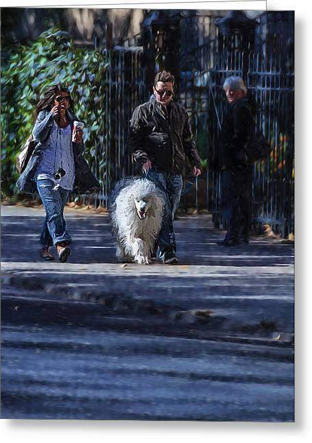 Dog Walking Digital Art Greeting Cards - Walking the Dog Greeting Card by Keith Yates