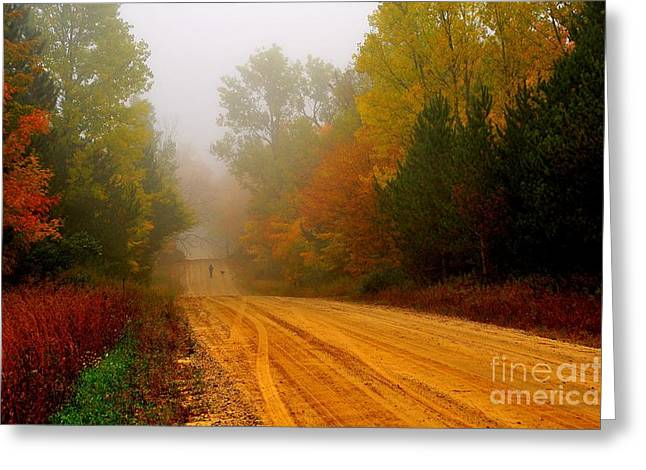 Fall Trees Greeting Cards - Walking the Dog Greeting Card by Terri Gostola