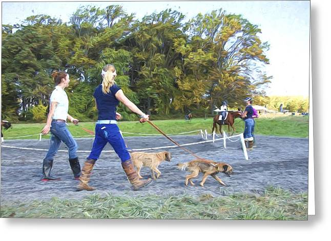 Dogwalker Greeting Cards - Walking The Dogs Greeting Card by Alice Gipson