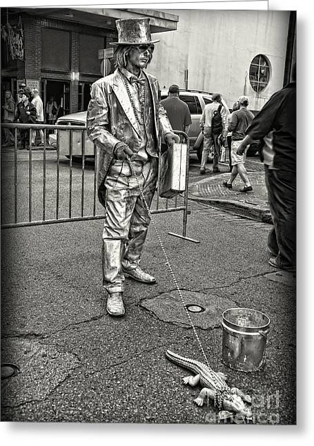 Black Painted Edges Greeting Cards - Walking the Gator on Bourbon St. NOLA black and white Greeting Card by Kathleen K Parker