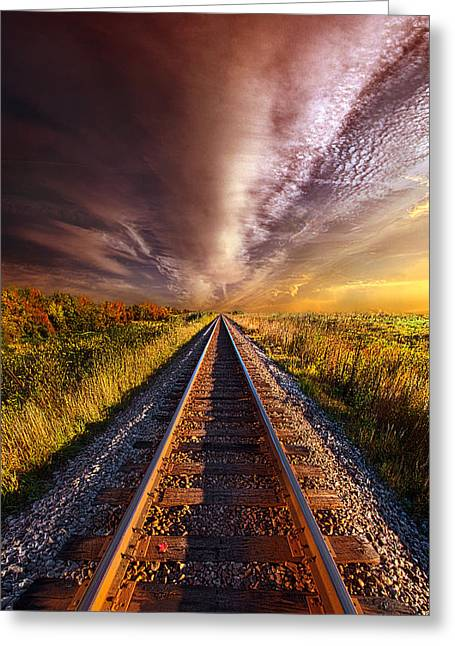 Sunrise Greeting Cards - Walking the Line Till the Morning Shines Greeting Card by Phil Koch