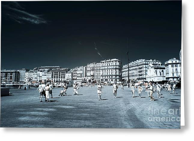 Ir Photography Greeting Cards - Walking the Old Port Greeting Card by John Rizzuto
