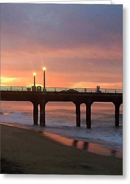 California Beach Greeting Cards - Walking the Pier Greeting Card by Art Block Collections