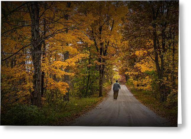 Gravel Road Greeting Cards - Walking the Road Less Traveled Greeting Card by Randall Nyhof