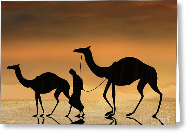 Heat Mixed Media Greeting Cards - Walking The Sahara Greeting Card by Bedros Awak