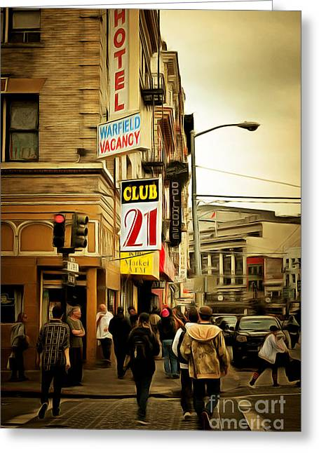 Skid Row Greeting Cards - Walking The San Francisco Tenderloin Streets 5D19353brun Greeting Card by Wingsdomain Art and Photography