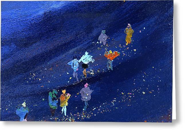 Family Walks Paintings Greeting Cards - Walking The Three Peaks Greeting Card by Neil McBride