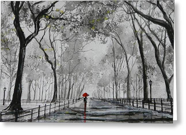 Pen And Ink Drawing Photographs Greeting Cards - Walking through Central Park Greeting Card by Debbie  Fisher
