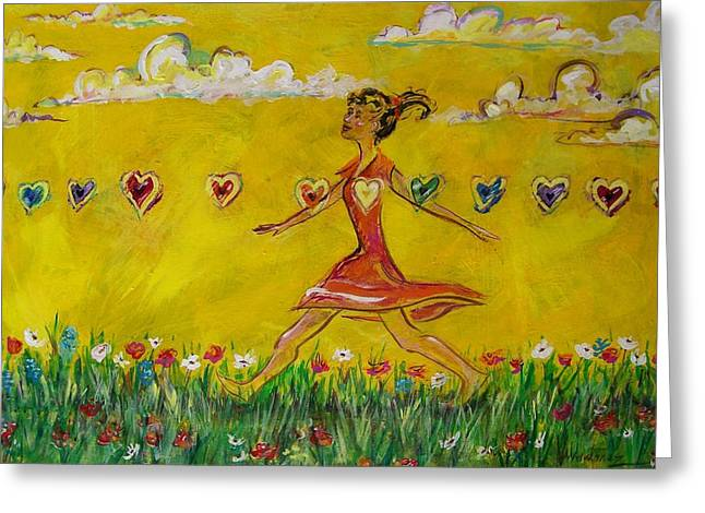Athletic Love Greeting Cards - Walking Through Emotions Greeting Card by Maria Valladarez