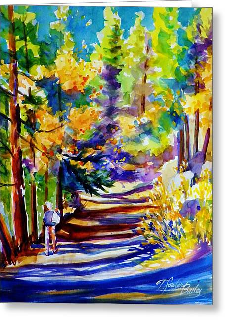 Therese Fowler-bailey Greeting Cards - Walking Through Shadows  Greeting Card by Therese Fowler-Bailey