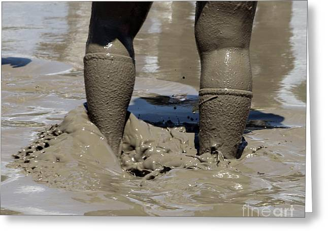 Women Sports Greeting Cards - Walking through the fields of mud Greeting Card by Steven  Digman