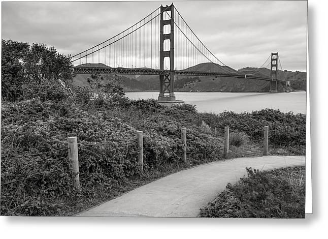 Most Popular Greeting Cards - Walking to the Golden Gate Bridge - Black and White Greeting Card by Gregory Ballos