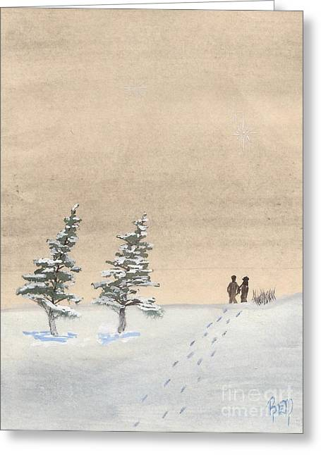 Walking Together Greeting Card by Robert Meszaros