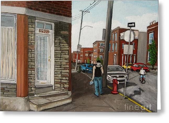 Streets Of Montreal Greeting Cards - Walking Verdun in the Summer Greeting Card by Reb Frost