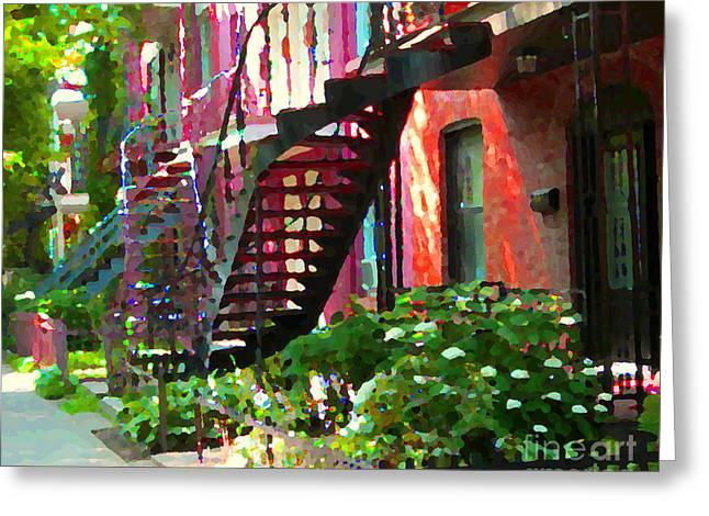 Verdun Greeting Cards - Walking Verdun Spiral Staircases Graceful Circular Steps Montreal Colorful Scenes Carole Spandau  Greeting Card by Carole Spandau