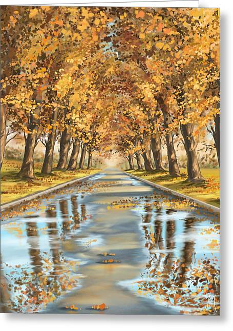 Autumn Digital Art Greeting Cards - Walking Greeting Card by Veronica Minozzi