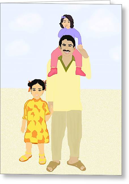 Best Sellers -  - Daughter Gift Greeting Cards - Walking with Daddy Greeting Card by Pharris Art