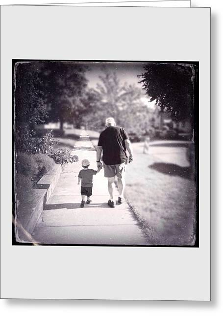 Little Boy Digital Greeting Cards - Walking with Grandpa Greeting Card by Natasha Marco
