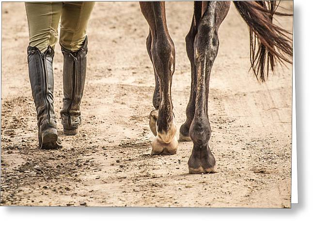 Riding Boots Digital Art Greeting Cards - Walking with Horse Greeting Card by Toni Thomas