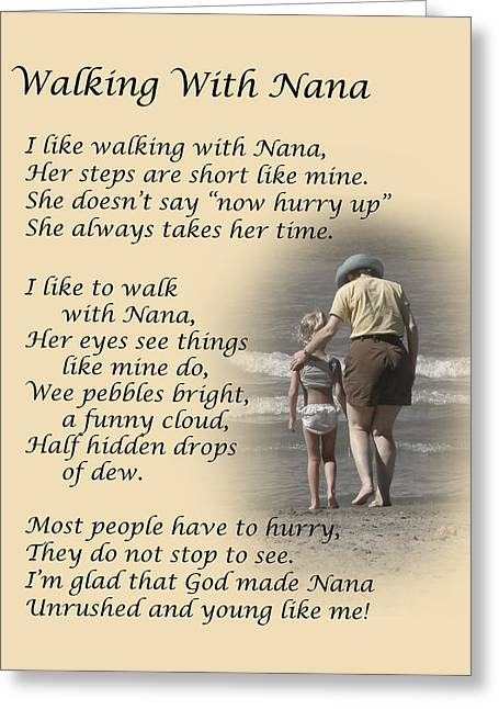 Poem Greeting Cards - Walking With Nana Greeting Card by Dale Kincaid