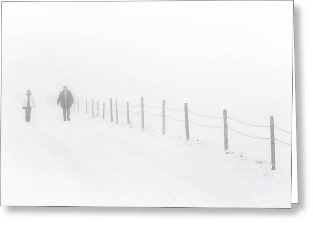 Drifting Snow Greeting Cards - Walking without vision Greeting Card by Holger Spiering