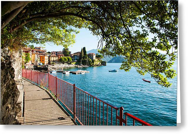 Non Urban Scene Greeting Cards - Walkway Along The Shore Of A Lake Greeting Card by Panoramic Images