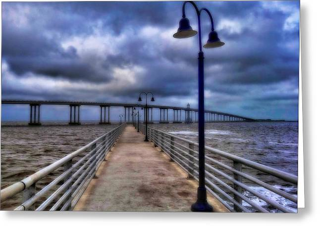 Light Pole Greeting Cards - Walkway And Bridge On Gulf Of Mexico Greeting Card by Dan Sproul