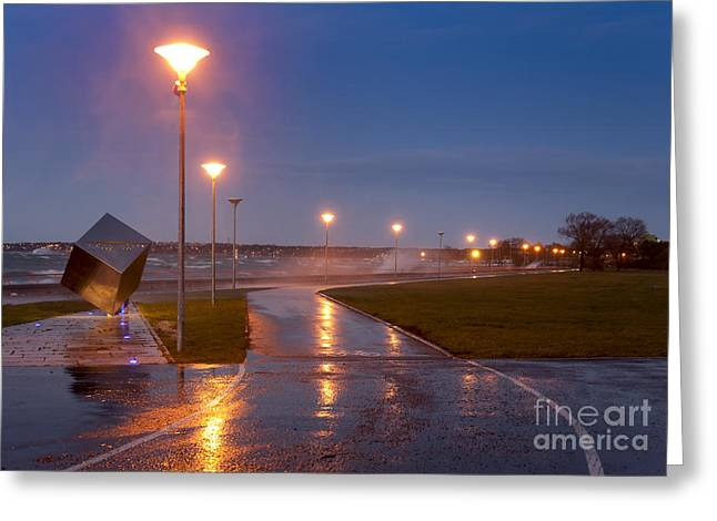 Surf City Greeting Cards - Walkway at night Greeting Card by Jaak Nilson