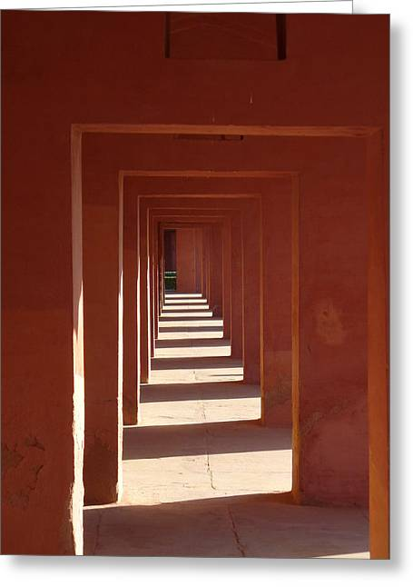 Bill Mock Greeting Cards - Walkway by the Taj Greeting Card by Bill Mock