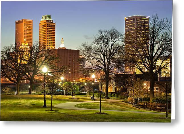 Oklahoma Greeting Cards - Walkway City View - Tulsa Oklahoma Greeting Card by Gregory Ballos