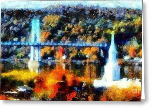 Train On Bridge Greeting Cards - Walkway over the Hudson Autumn riverview Greeting Card by Janine Riley