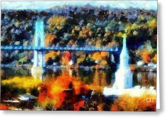 Walkway Over The Hudson Autumn Riverview Greeting Card by Janine Riley