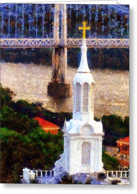 Train On Bridge Greeting Cards - Walkway over the Hudson Church Steeple Greeting Card by Janine Riley