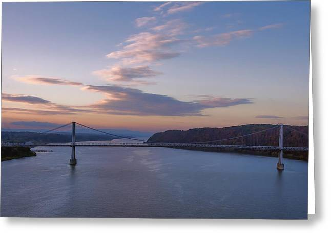 Walkway Over The Hudson Dawn Greeting Card by Joan Carroll