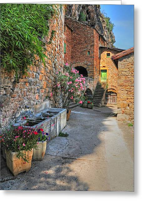 Provence Village Greeting Cards - Walkway Through a Provence Village Greeting Card by Dave Mills
