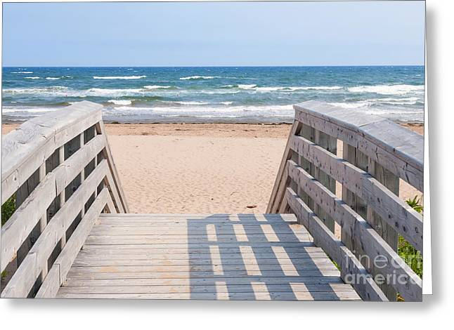Sunny Beach Waves Greeting Cards - Walkway to Atlantic beach Greeting Card by Elena Elisseeva