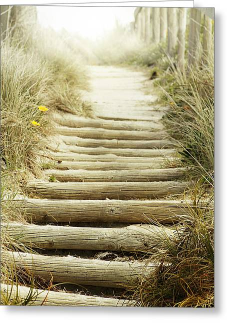 Wooden Stairs Greeting Cards - Walkway to beach Greeting Card by Les Cunliffe