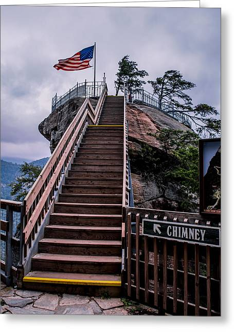 Rocks Greeting Cards - Walkway to Chimney Rock Greeting Card by Zina Stromberg