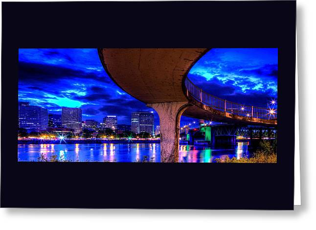 Canvas Art Prints Greeting Cards - Walkway To Morrison Street Bridge PDX Greeting Card by Thom Zehrfeld