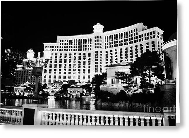 Streetlight Greeting Cards - wall and streetlights outside the bellagio hotel and casino Las Vegas Nevada USA Greeting Card by Joe Fox