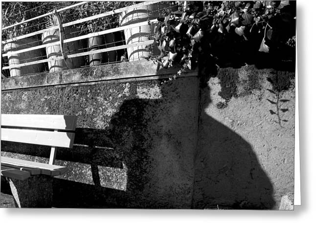 Shadowplay Greeting Cards - Wall Bench Shadows Stairs Greeting Card by Colleen Williams